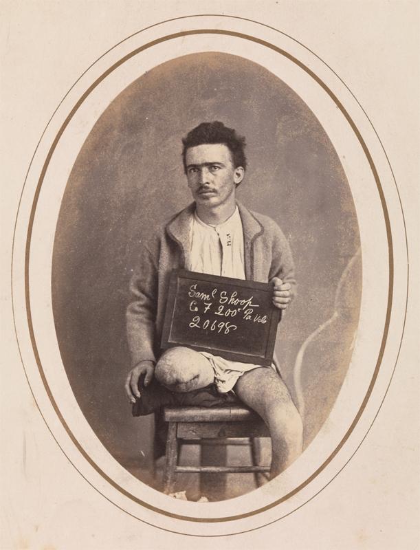 """Soldado Samuel Shoop, Subdivisão F, 200ª Infantaria da Pensilvânia"", de Reed Brockway Bontecou. Abril - maio de 1865."