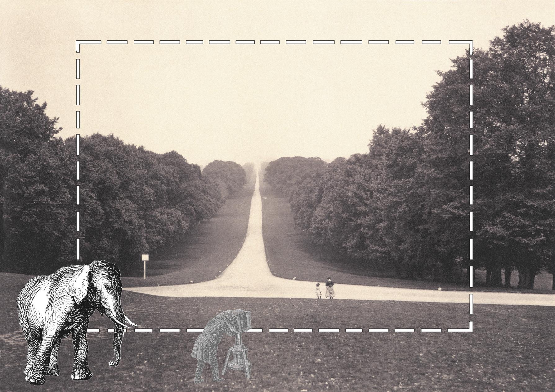 O longo passeio do castelo de Windsor (1860), foto de Roger Fenton com ilustrações de Daniel Mooney. © 2011, Sua Majestada, A Rainha Elizabeth II, RCIN 2100070.