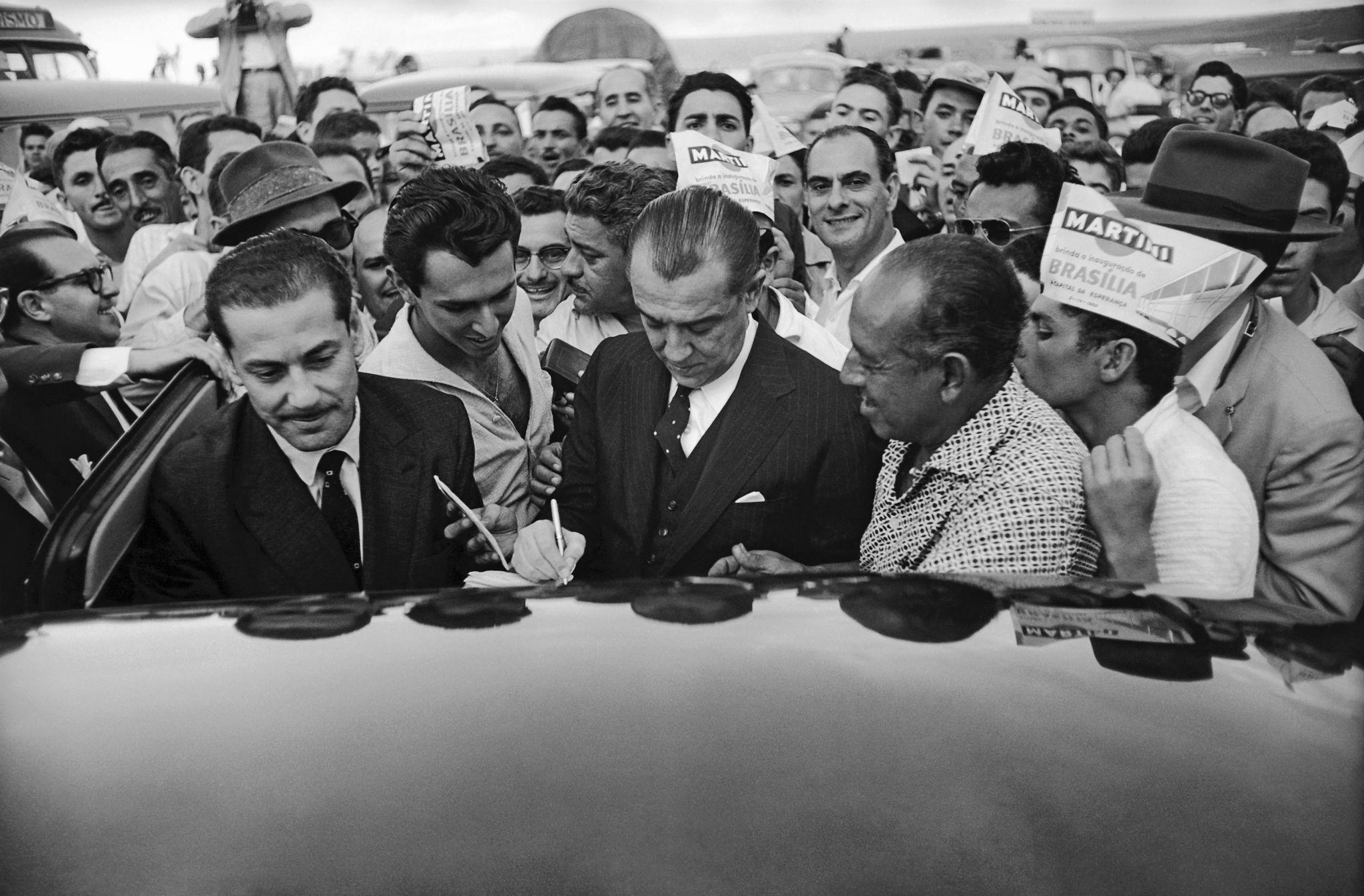 Presidente Juscelino no dia da inauguração de Brasília, 21 de abril, 1960