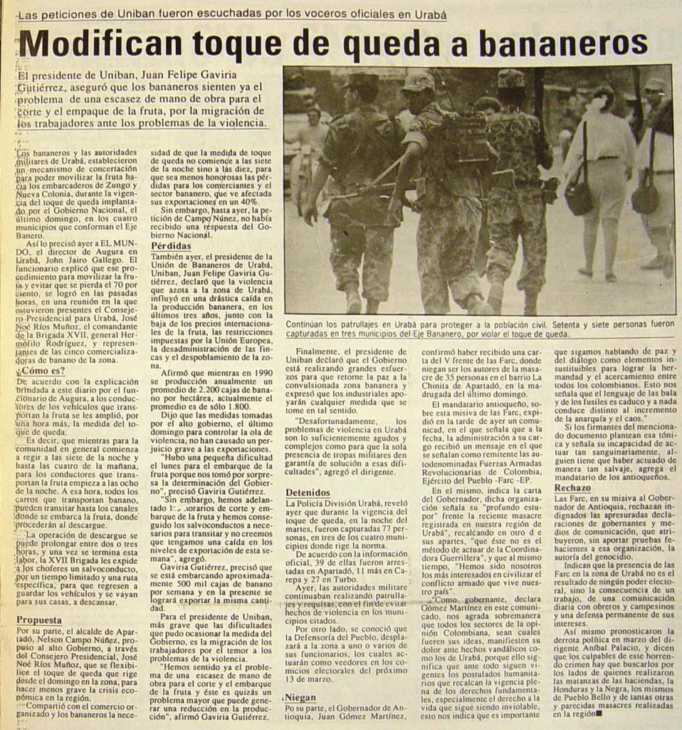 Recorte de jornal do dia27 de janeiro de 1994