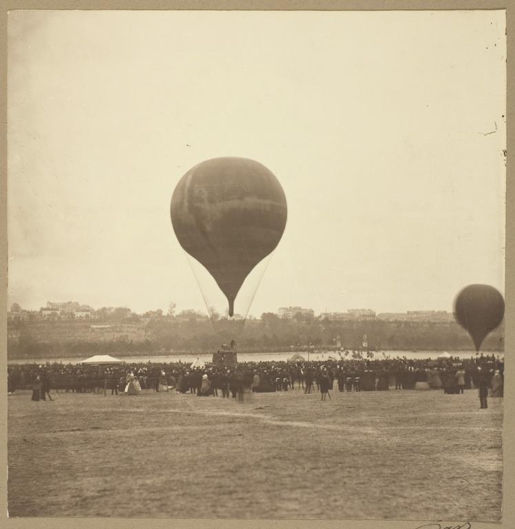 """Félix Nadar, Balão """"O Gigante"""", Campo de Marte, Paris, França, 1863."""