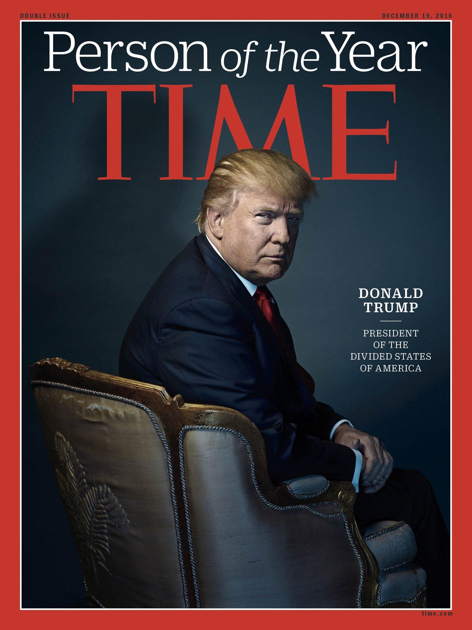 """Donald Trump fotografado por Nadav Kander na capa da revista """"Time"""", edição Personalidade do Ano de 2016."""